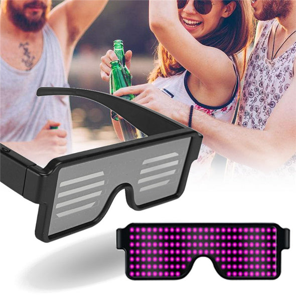 Flashing LED Party Glasses Futuristic Eyes Shield Luminous Glasses Birthday Party Wedding Decoration Gift USB Charging