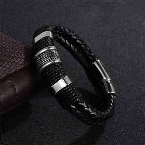 Fashion Black Braid Woven Leather Bracelet Titanium Stainless Steel Bracelet Men Bangle Men Jewelry Vintage Gift