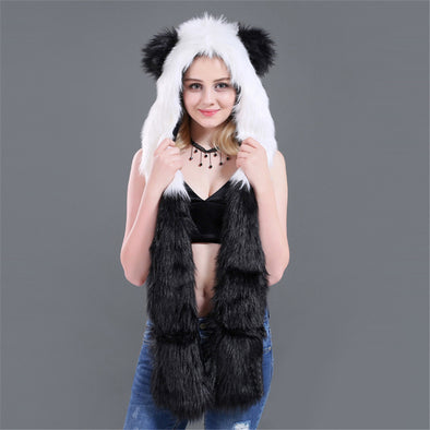 New Fashion Animal Warm Winter Faux Fur Hat Fluffy Plush Cap Hood Scarf Shawl Glove Dint Gift