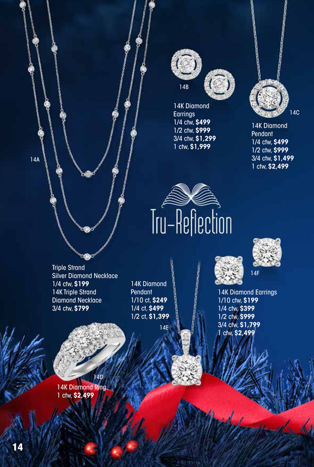 TruReflection 14k Triple Strand Diamond Necklace 3/4 ctw Holiday Catalog 14A