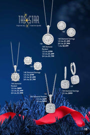 TriStar Diamond Earrings 1 ctw Holiday Catalog 12B