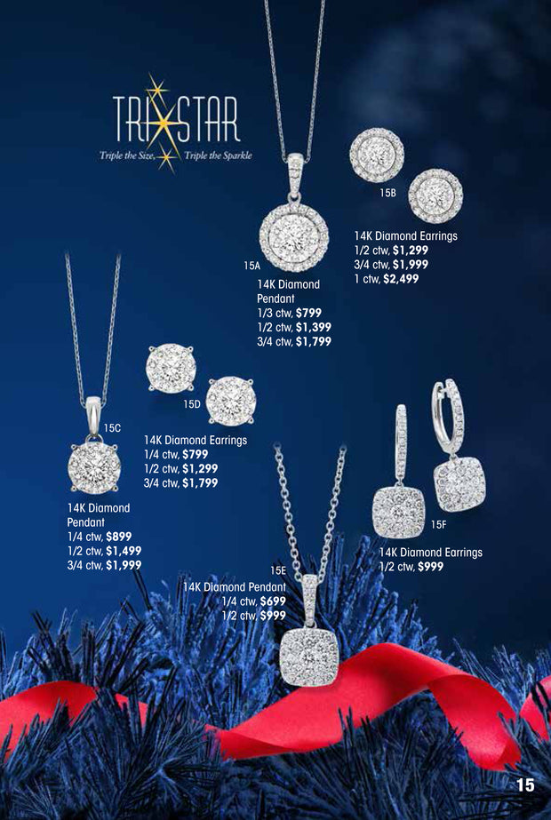 TriStar 14k Diamond Earrings 1/2 ctw Holiday Catalog 15D