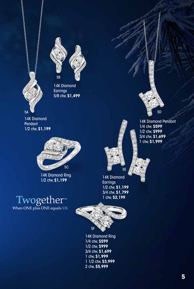 Twogether 14k Diamond Earrings 1/2 ctw Holiday Catalog 5E