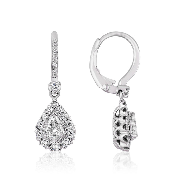 CHRISTOPHER DESIGNS L'AMOUR CRISSCUT PEAR SHAPE DIAMOND EARRINGS - L117ER-LPE050