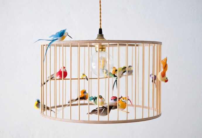 Wooden Birdcage Pendant Light