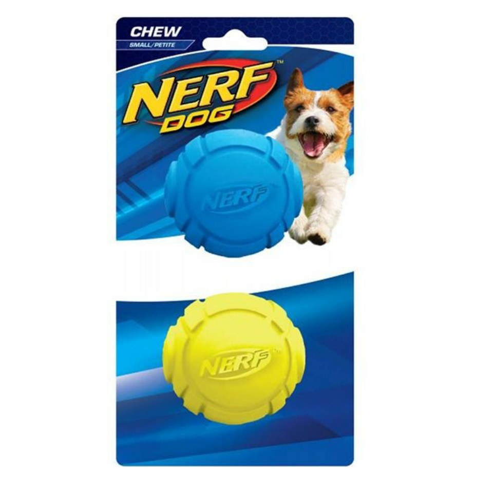 Nerf Dog Chew Rubber Ball 2 pack - Blue/Green (S)