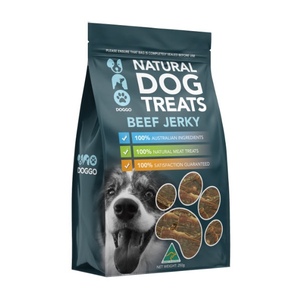 Uno Doggo Natural Dog Treats - Beef Jerky (250g)