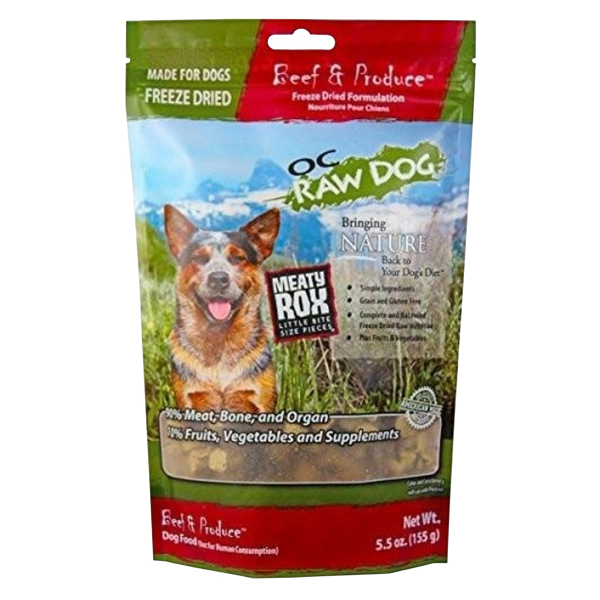 OC Raw Dog Meaty Rox Beef & Produce Freeze Dried Dog Food Topper 5.5oz