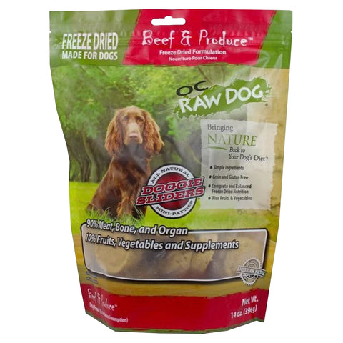 OC Raw Dog Beef & Produce Sliders Freeze Dried Dog Food 14oz