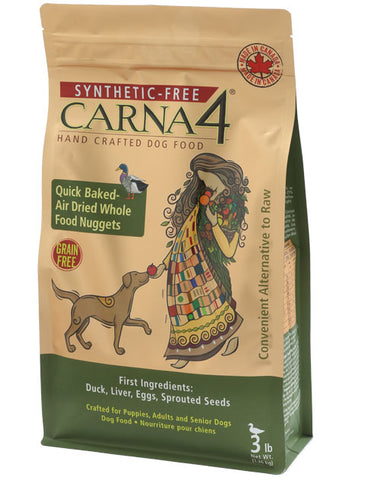 Carna4 Quick-Baked Air Dried Duck Grain Free Nuggets for Dogs (3lbs/1.36kg)