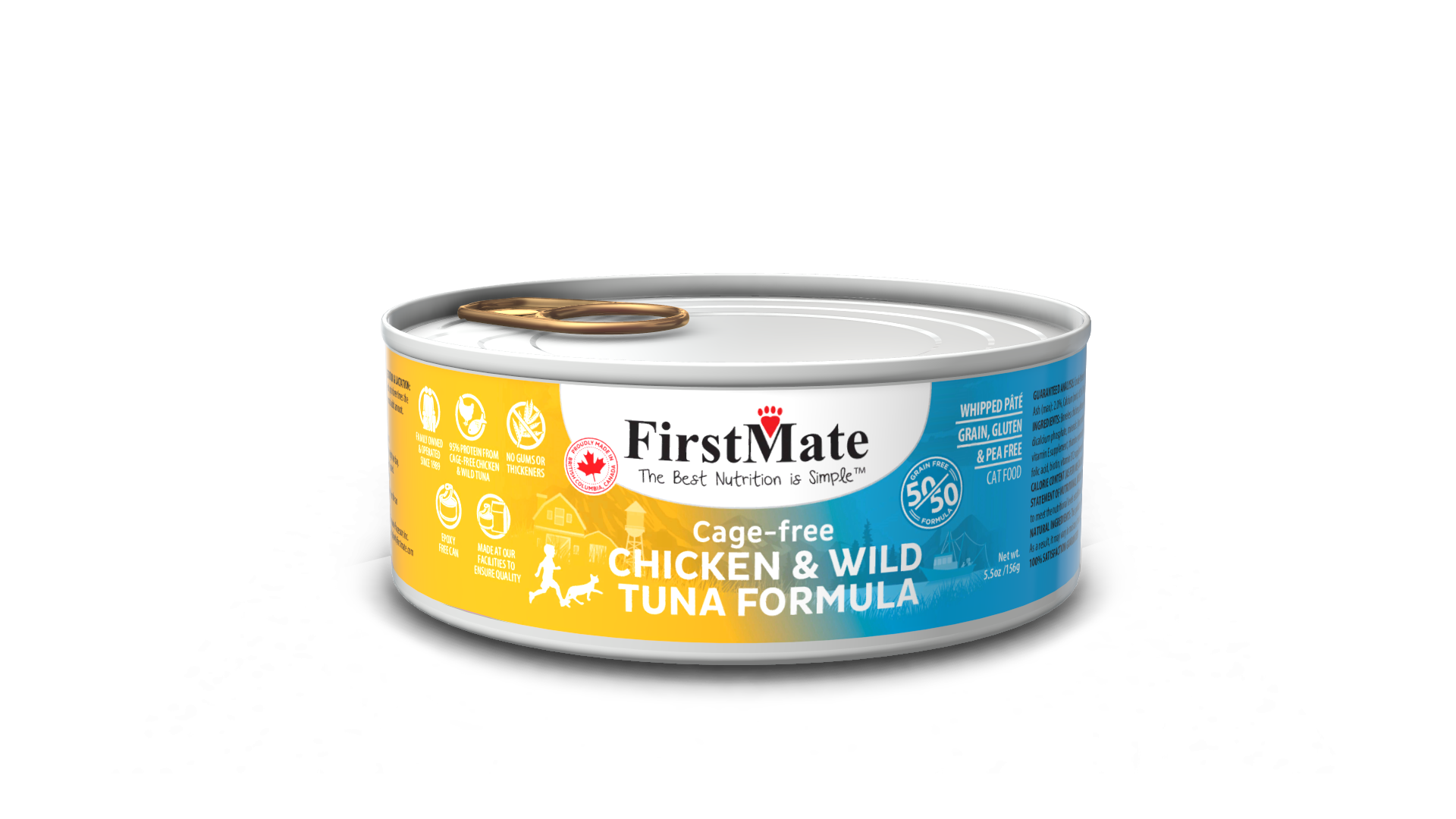 FirstMate Grain & Gluten Free, Free Run Chicken & Wild Tuna 50/50 Formula for Cats (156g)