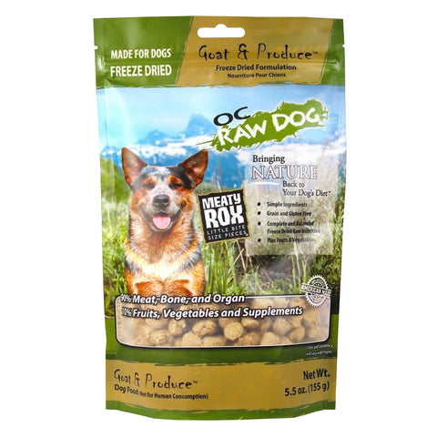 OC Raw Dog Meaty Rox Goat & Produce Freeze Dried Dog Food Topper 5.5oz