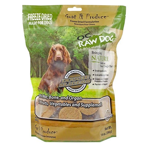 OC Raw Dog Goat & Produce Sliders Freeze Dried Dog Food 14oz