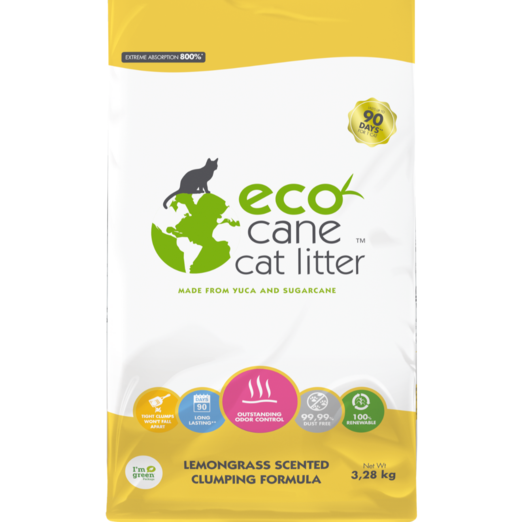 Eco Cane Lemongrass Scented Cat Litter 3.28kg (Buy 1 get 1 Free)
