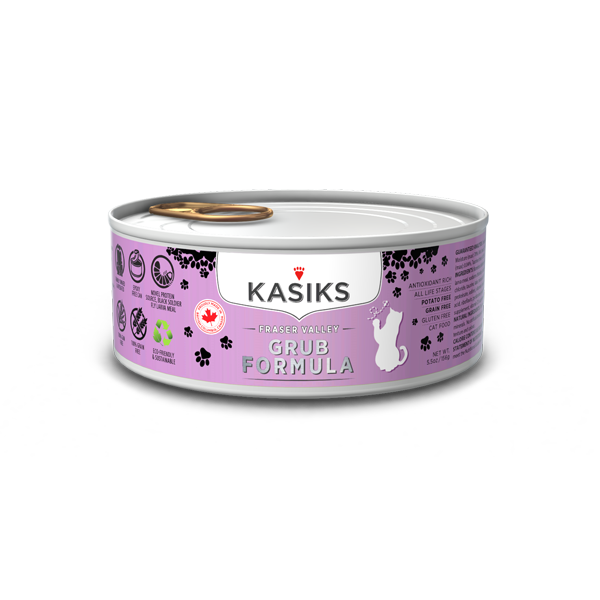 Kasiks Grain, Gluten & Potato Free, Fraser Valley Grub Formula Canned Food for Cats (156g)