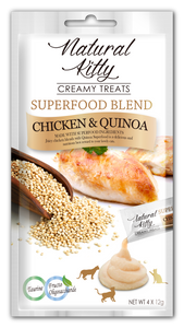 Natural Kitty Creamy Treats, Superfood Blend - Chicken & Quinoa (4 x 12g pack)