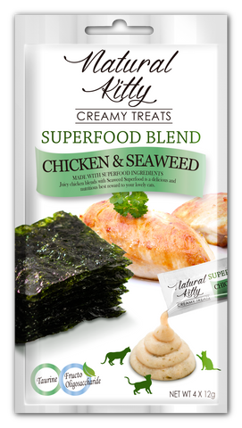 Natural Kitty Creamy Treats, Superfood Blend - Chicken & Seaweed (4 x 12g pack)