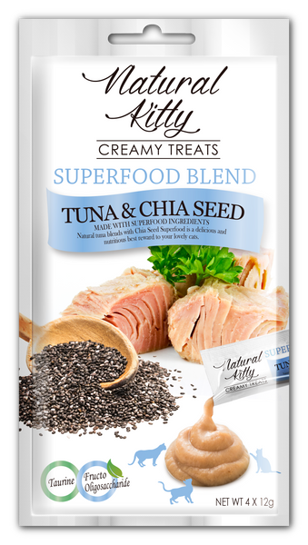 Natural Kitty Creamy Treats, Superfood Blend - Tuna & Chia Seed (4 x 12g pack)