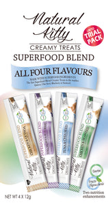 Natural Kitty Creamy Treats, Superfood Blend - Trial Pack with all 4 flavours (4 x 12g pack)