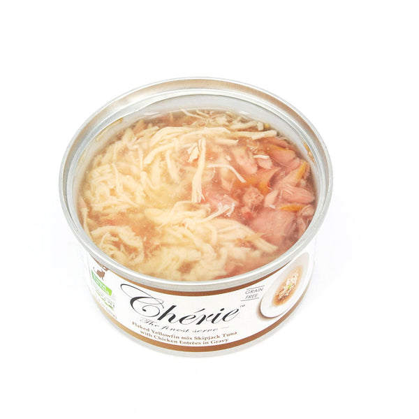 Cherie (Signature Gravy) - Flaked Yellowfin mix Skipjack Tuna with Chicken Entree in Gravy (80g)