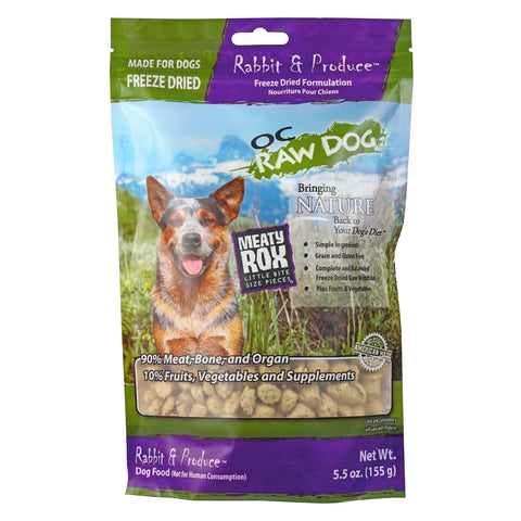 OC Raw Dog Meaty Rox Rabbit & Produce Freeze Dried Dog Food Topper 5.5oz