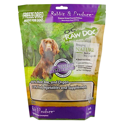OC Raw Dog Rabbit & Produce Sliders Freeze Dried Dog Food 14oz