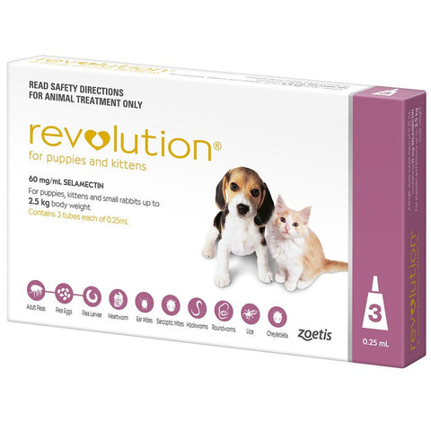 Revolution For Puppies & Kittens Up To 2.5kg (3 doses)