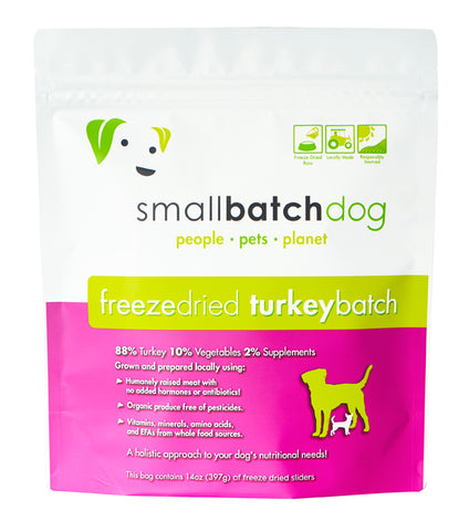 Smallbatch Freeze Dried Raw Turkey Sliders Dry Dog Food (14oz/400g)