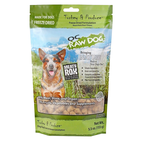 OC Raw Dog Meaty Rox Turkey & Produce Freeze Dried Dog Food Topper 5.5oz