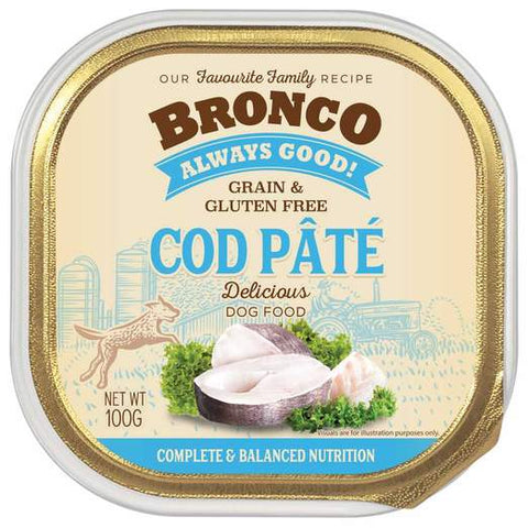 Bronco Cod Pâté Adult Grain-Free Tray Dog Food (100g)