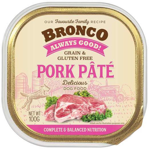 Bronco Pork Pâté Adult Grain-Free Tray Dog Food (100g)