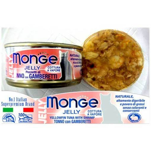 Monge Yellowfin Tuna with Shrimp in Jelly Cat Food (80g)