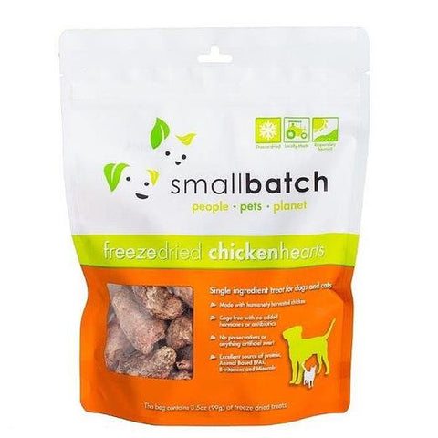 Smallbatch Chicken Hearts Freeze Dried Cat & Dog Treats (3.5oz/100g)