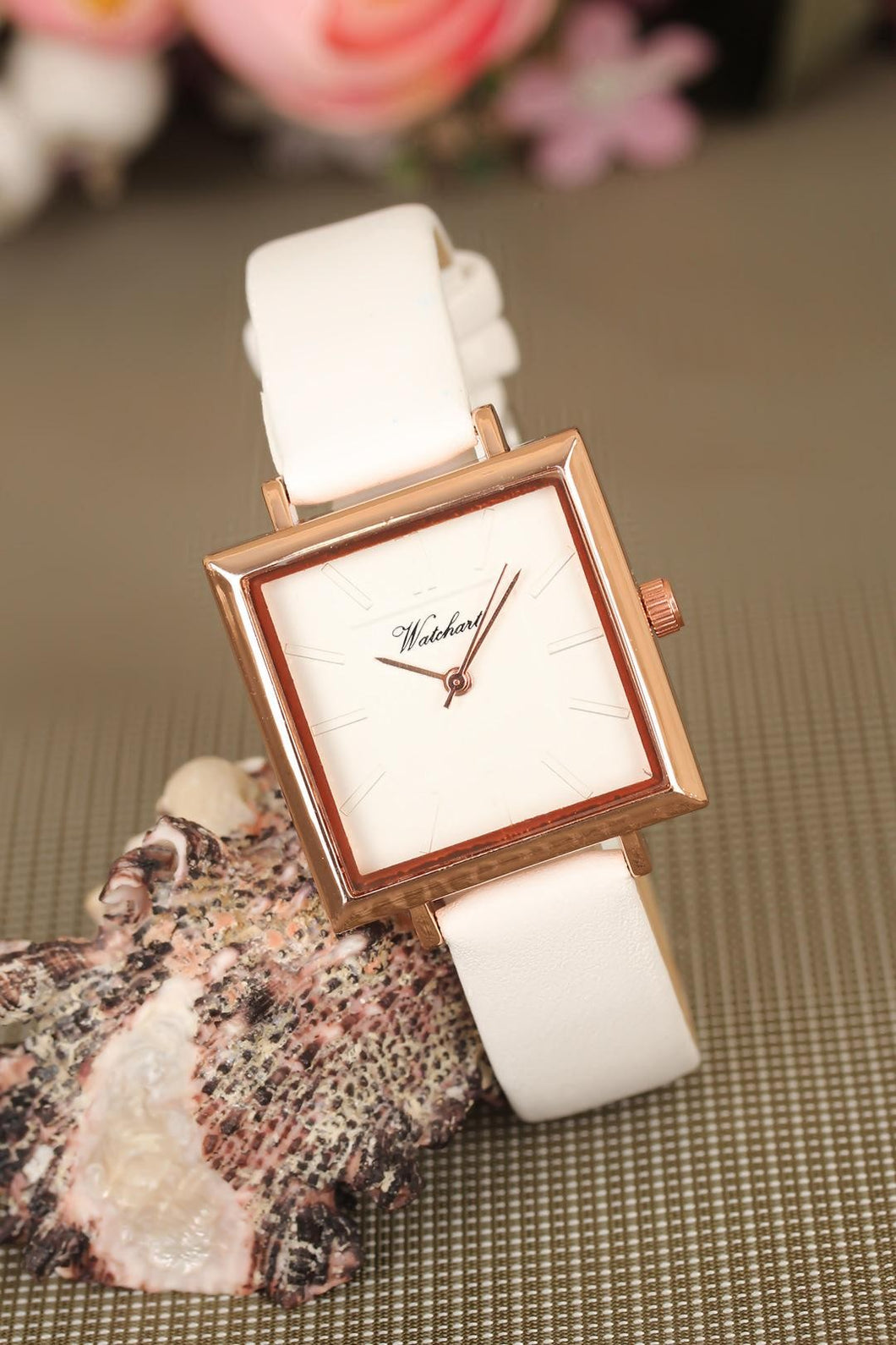 Women's White Leather Cord Rose Metal Square Case Watch