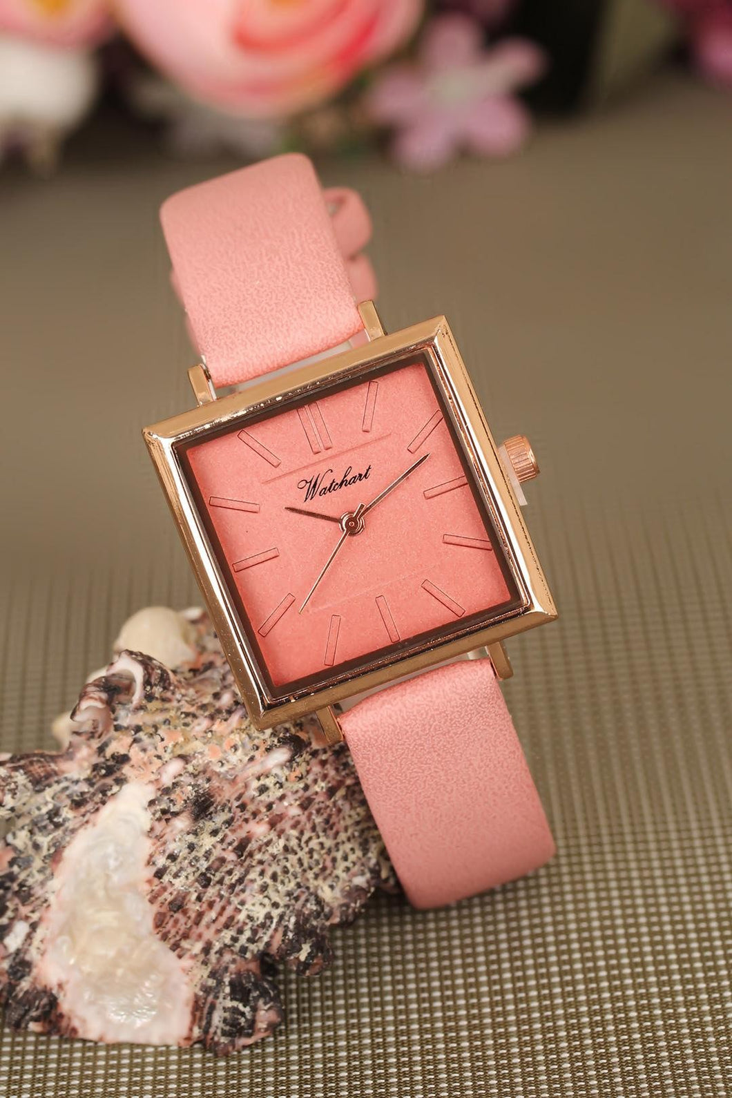 Women's Pink Leather Cord Powder Rose Metal Square Watch