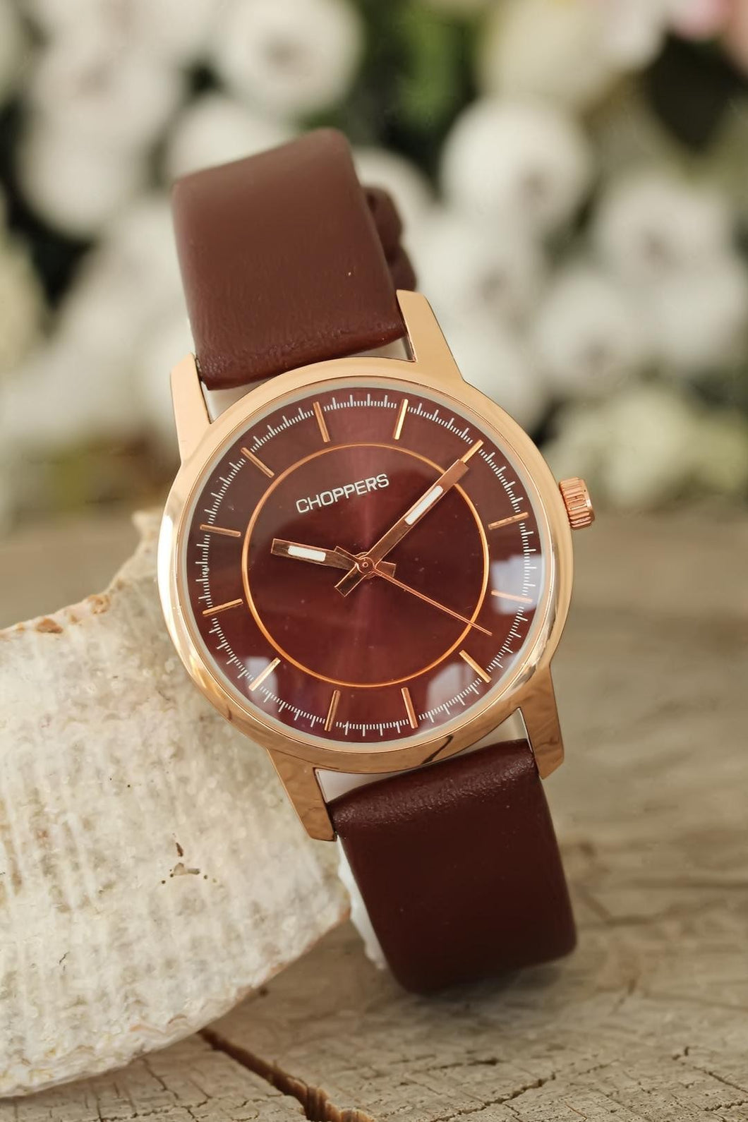Women's Brown Leather Strap Rose Metal Case Watch
