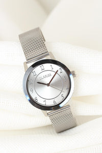 Women's Silver Plated Straw Metal Corded Smoky Metal Case Watch