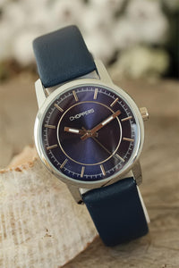 Women's Navy Blue Leather Corded Metal Case Watch