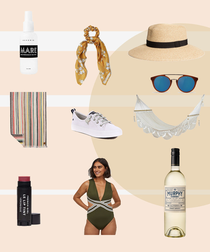 Sophia Wood Muse California Current Spring Summer 2019 lifestyle favorites white sneakers striped towel straw hat white wine