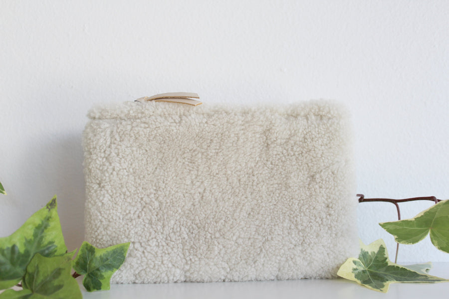 Ivory Shearling Wallet