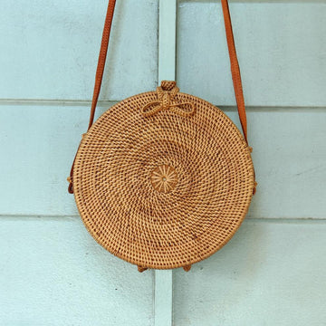 Reina Brown Round Rattan Straw Bag