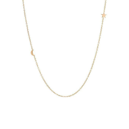 14K Moon & Star Necklace