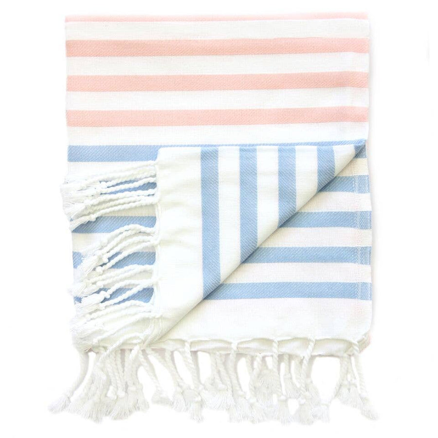 Saardé - Sheker Towel Candy Stripes Rose And Pale Blue