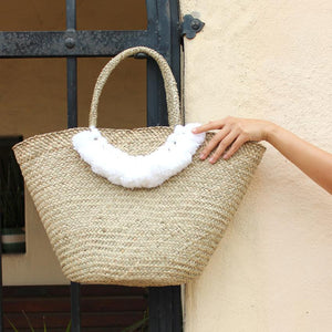 Roman Tassel Straw Bag - White