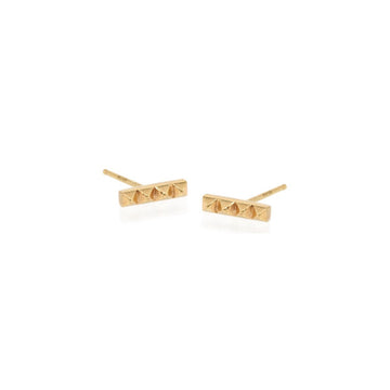 14K Tiny Spiked Bar Stud Earring