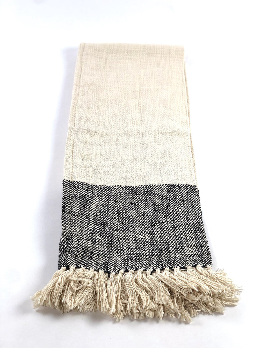 Handwoven Cotton Throw - Black Stripe