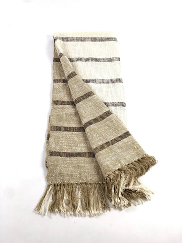 Handwoven Cotton Throw - Brown Stripe