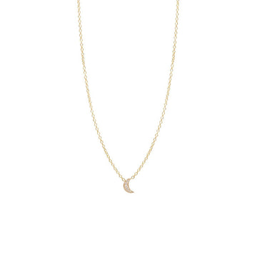 Zoe Chicco 14K Pavé Moon Necklace