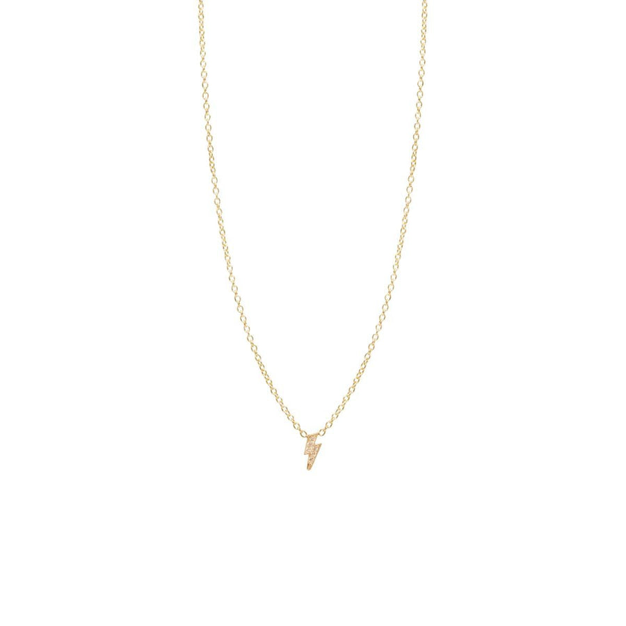 14K & Pavé Lightning Bolt Necklace
