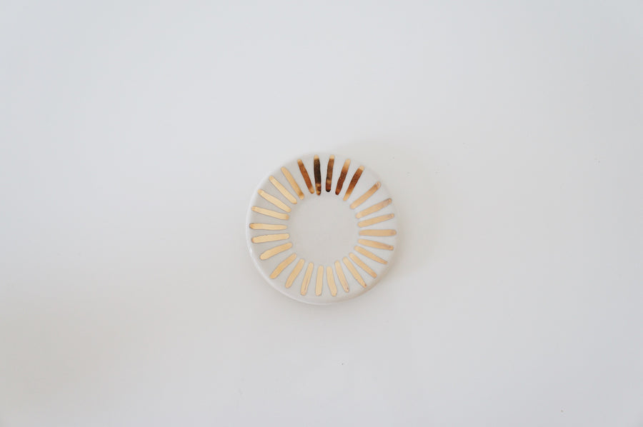 White + Golden Sunburst Ring Dish